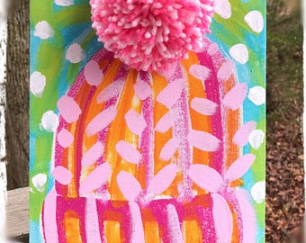 Winter Whimsy Cute Abstract Knit Hat Painting with PomPom