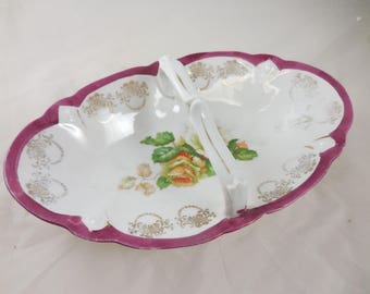 Vintage Germany Porcelain China Floral Roses Hand Painted  Candy Dish