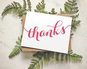 Thanks Orange or Pink Modern Calligraphy Thank you Card