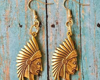 Indian Chief Head Earrings Gold Pewter Dangle Boho Pierced