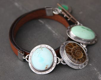 turquoise, ammonite, variscite, chrysoprase, leather, and sterling silver metalwork link toggle bracelet