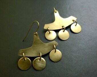 Historical chandelier earrings Panama I - raw brass