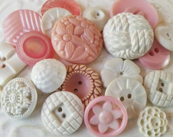 Vintage Buttons - Cottage chic fancy pierced mix of pink and white lot of 21 old and sweet( July410 17)