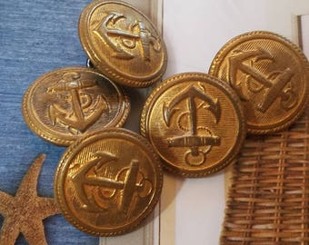 Vintage  Buttons- 5 matching Metal small 3/4 inch, and gold Anchor (Aug 277 17 )