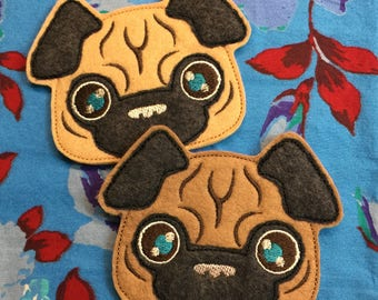 Pug Magnet - Wool Felt - Fawn / Apricot *Made-to-order