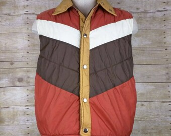 Vintage Sigallo Yellow Orange White Brown Stripe Quilted Nylon Vest Mens M 1980s