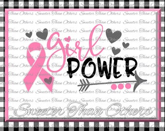 Girl Power SVG, Breast Cancer Svg Ribbon Dxf Silhouette Studios Cameo Cricut cut file INSTANT DOWNLOAD, Vinyl Design, Htv Scal Mtc