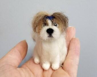 Shih Tzu needle felted dog ornament, Custom dog ornament, Dog memorial, Custom pet portrait