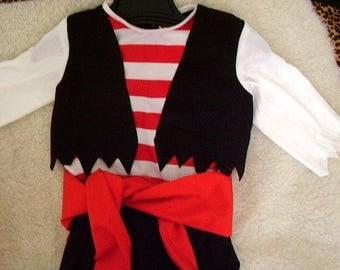 Pirate, 4 ITEMS, black pants, vest, sash, tee, sz 1 thru 5.