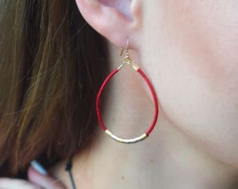 Valentine's Day gift leather Hoop earrings in black leather red leather white leather grey leather, you pick the color (1)