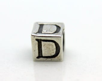Sterling Silver Alphabet D Block Cube Square Bead 5.5mm Large Hole