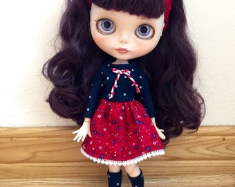 Dress, Headband & Socks for Blythe - Royal Blue Polkadots and Red Florals
