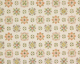 1940s Vintage Wallpaper Orange and Green Geometric on White by the Yard