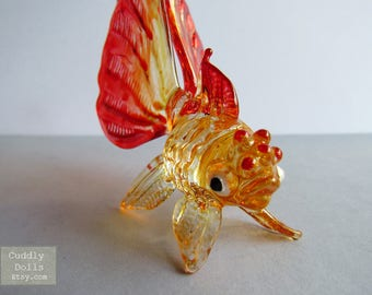 Red Yellow Goldfish Miniature Hand Blown Painted Glass Animal Figurine Nice Collectible Gifts Decor Ocean Marine Life Painted Glass Fish