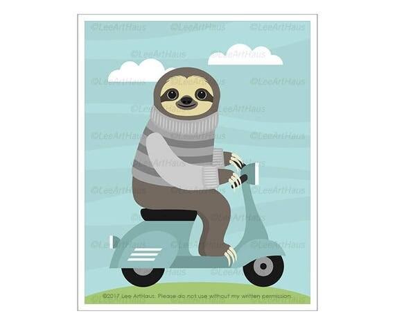 13J Vespa Print - Sloth on Vespa Wall Art - Unique Birthday Gift Idea - Boy Nursery Decor - Funny Animal Prints - Scooter Wall Art
