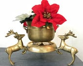 vintage brass reindeer candle stand - gold metal plant stand - holiday centerpiece - winter cabin decor