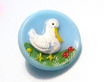Vintage Sewing Buttons - Glass Ducks - Light Blue