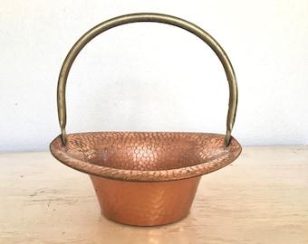 copper bowl - basket adjustable handle - hammered copper planter, centerpiece or container