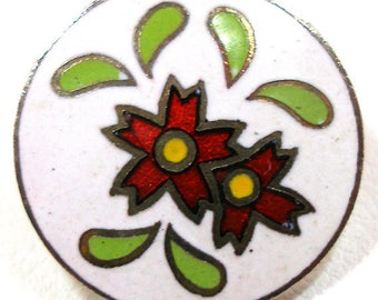 """50s Japanese Button, Cloisonne flowers in red, 5/8"""". Four colors."""