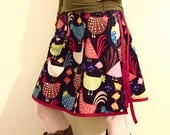 Women's Wrap Skirt  -Chickens and Chicks - Ready to Ship