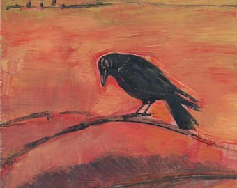 original art, small painting, affordable, one of a kind art - Crow and Feather - by Irene Stapleford, wantknot shop