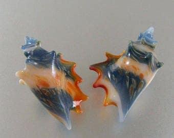 Lampwork Beads-Glass Boro-Conch-Cone Seashell-Set- Pair-Pendant-Focal Bead-Ocean Sea Shell-Glass Sea shell-Lampwork Sea Shell-Handmade Glass