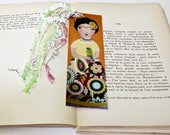 Frida with Parrot -  Laminated Bookmark  Handmade - Original Art by FLOR LARIOS