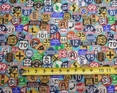 Motorin' Route 66 Retro Street Road Signs on Lt Blues BY YARDS QT Cotton Fabric