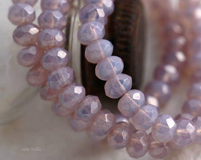 PINK LILAC BABIES .. New 30 Picasso Czech Rondelle Opal Glass Beads 3x5mm (5907-st)