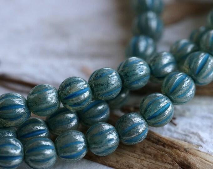 BLUE MERCURY MELONS No. 2 .. New 50 Picasso Czech Melon Beads 4mm (5996-st)