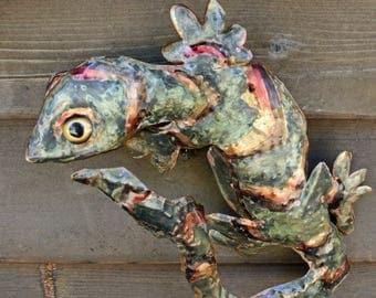 Gecko Lizard - brass metal climbing reptile sculpture - wall hanging - with verdigris blue-green, salmon, iridescent red-gold patinas - OOAK
