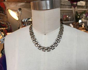 Vintage silver tone collar Necklace