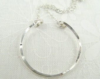 OPEN CIRCLE NECKLACE sterling silver round open circle pendant necklace