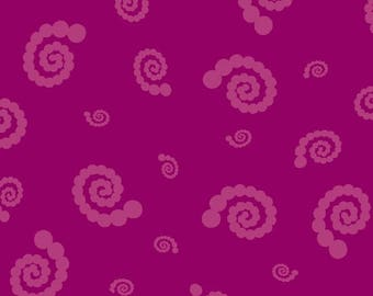 STUDIO 37 A Shout, A Whisper, A Text Swirly Pearl Girl Magenta 7748-0126 Yardage, Sarah Maxwell Designs by Sarah J