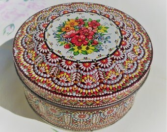 Beautiful Floral Embossed Round Fancy Vintage Tin, Made in England