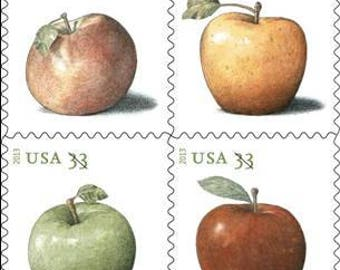 Four (4) unused postage stamps - Apples // 33 cent stamps // Face value 1.32