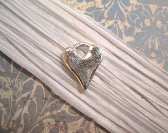 Rustic Hammered Heart Charm with Sterling Silver Plating from Nunn Design
