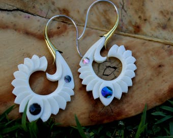Fake Gauge Earrings - NEW bone Tribal Hand Made Fake Piercings Organic