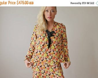 ON SALE 1920s Marigold Burst Dress & Blouse Set >>> Extra Small to Small