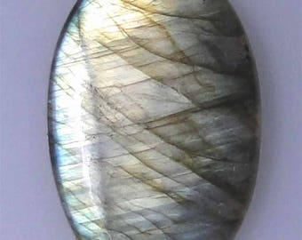 Labradorite oval cab, lower dome, execellent mostly gold color flash, 49.46 cts                043-10-237