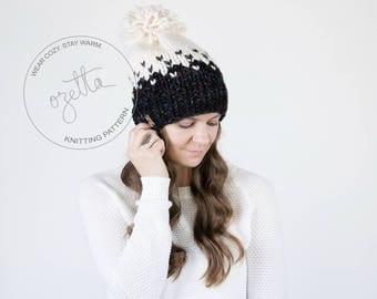 Knitting Pattern / Ombré Fair Isle Knit Hat With Pom Pom / THE MINTURN HAT