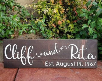 Couples Established Sign - Wooden Sign - Painted Wood Sign - Chalk Painted Sign - Hand Lettered Sign - Housewarming Gift Sign