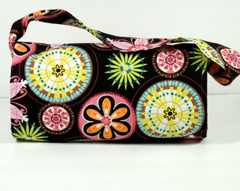 Ready to Ship, Mega Large Coupon Organizer Holder Carnival Bloom Fabric with Celery Green Lining