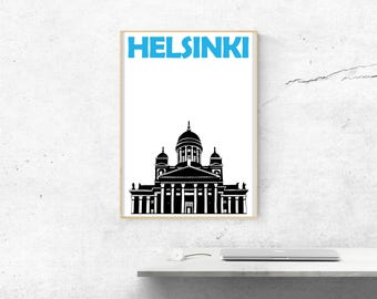 Helsinki Print // Finland Print // Helsinki Poster // Helsinki Art // City Print // Girlfriend Gift // Boyfriend Gift // Finnish Gift