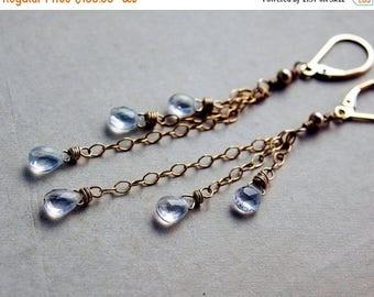 Summer Sale Crystal Earrings, Gemstone Earrings, Chandelier Earrings, Crystal Quartz, 14k gold fill, Dangle Earrings, Shooting Stars, PoleSt