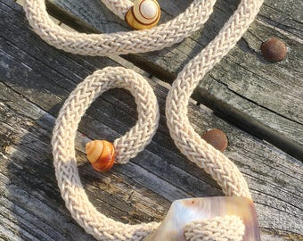 Mother of Pearl Shell Crochet Rope Belt