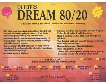 Quilters Dream Batting White Select Dream Blend 80/20 Quilt Batting Crafting Sewing  Sampler Pack