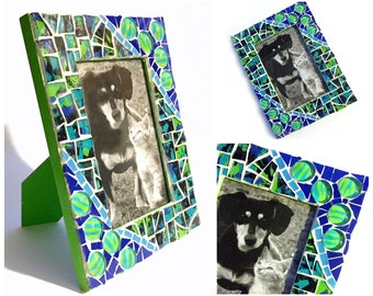 Blue Green Mosaic Photo Frame, Lime Green Mosaic Frame, 4 x 6 Photo Mosaic Frame, Cobalt Blue Lime Green Mosaic Picture Frame, 4x6 Frame