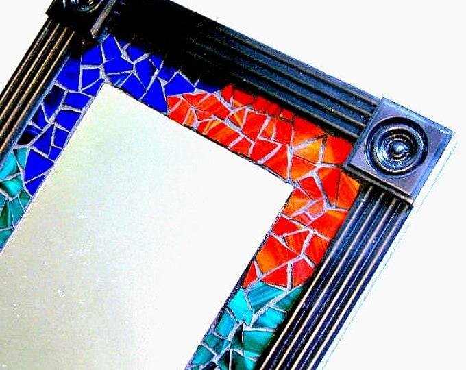 Mosaic Wall Mirror, Framed Mosaic Mirror, Multicolored Mosaic Mirror, Black Red Blue Green Mirror, Stain Glass Mirror, Black Framed Mosaic