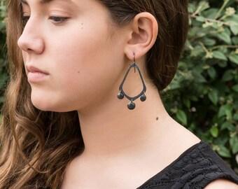 Chandelier earrings, oxidized sterling silver